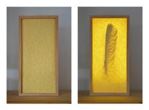 Reliquienkästchen Feder des Dummlings, links bei ausgeschaltetem, rechts bei eingeschaltetem Licht