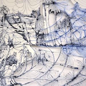 Detail einer halb sezierten Zeichnung von Jenni Tietze