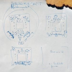 Skizze zur Mixedmediaarbeit Waldeinsamkeit von EVA.