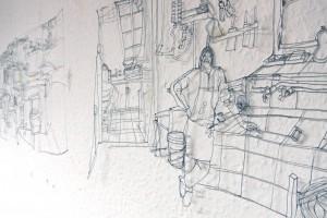 Auschnitt aus zwei nebeneinander hängenden sezierten Zeichnungen