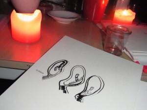 Jenni Tietze, Zeichnung mit Titel: schlimm