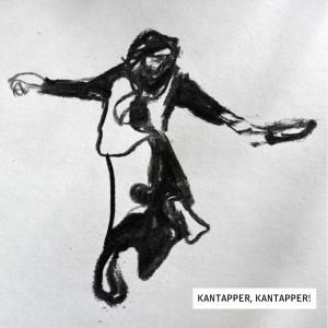 Kantapper Kohlezeichnung . Frau mit Pfanne.