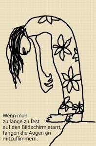EVAmemo Zeichnung einer Figur im Bluemchenkleid am Abgrund