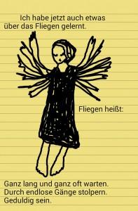 Zeichnung einer flügelschlagenden Frau auf gelbem Notizettel