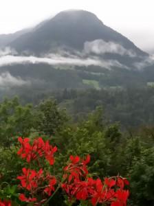 Blick auf einen dem Fuji ähnelnden bayerischen Berg von einem mit Geranien dekorierten Pensionsfenster aus.