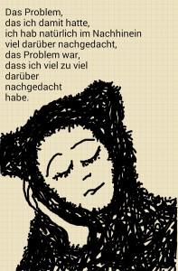 Zeichnung einer nachdenklichen Frau im Bärenkostüm, Kinn in eine Wange geschmiegt.