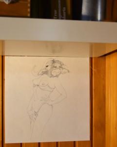 Zeichnung von Jenni Tietze unter Regal