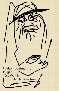 Zeichnungsnotiz: Räuber mit Nussschale.