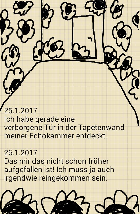 Digitalkritzelei der Hamburger Künstlerin EVA zur Entdeckung einer Tür in der Wand einer Echokammer.