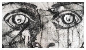 Detail einer gebatikten Tuschzeichnung von EVA