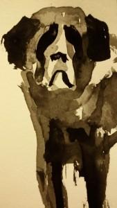 Trauriger Bernhardinerhund. Zeichnung mit Tusche