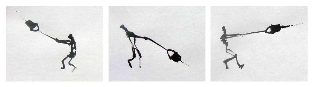 Zeichnung eines Farbeimer schwenkenden Strichmännchens