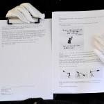 Zookunst Bewerbungstext, gehalten von weiss behandschuhten Händen.