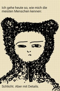 Digitale Kritzelei: Portrait eines Menschen im Baerenkostuem. Dazu ein Zitat aus einer Castingshow.