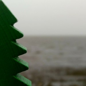 Spielzeugtanne aus Holz vor der Nordseeküste.