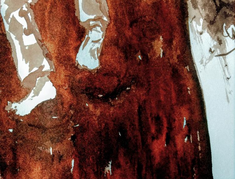Tuschskizze in Rotbraun von den Fuessen eines einen großen Baum hochkletternden Kindes.