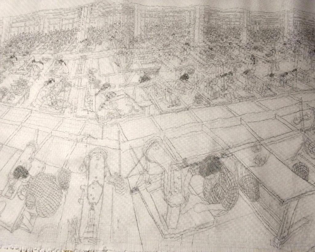Gewebte Bleistiftzeichnung von Jenni Tietze