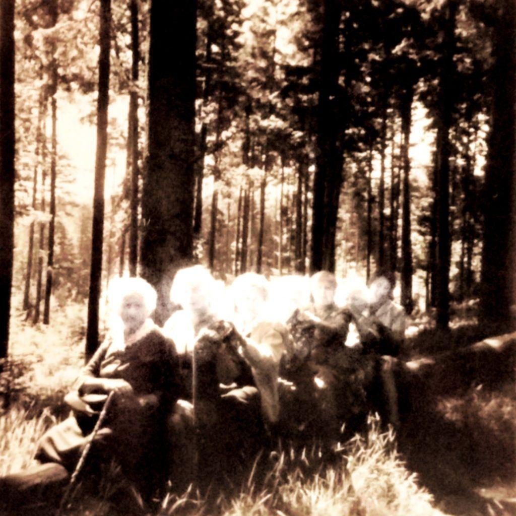 Bearbeitetes Familienfoto von einer Wandergruppe, die im Wald rittlings auf einem gefällten Baumstamm sitzt. Von EVA 2019