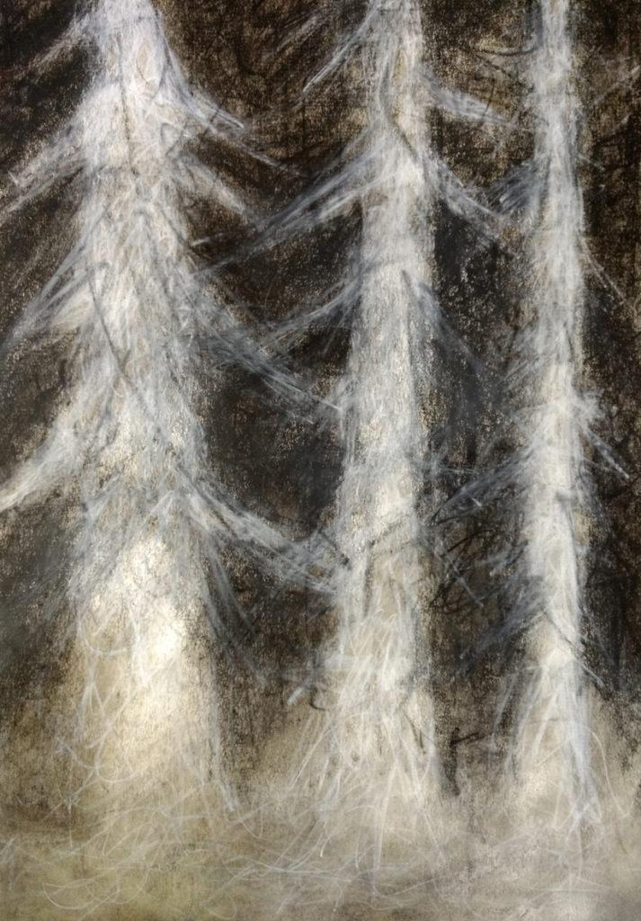 Schwarzweissgemälde mit Wachsfarben, Kohle und Oel auf Papier von EVA.