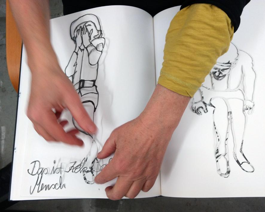 Zwischenbericht mit schwebender Zeichnung zu Jenni Tietzes Keki-Projekt