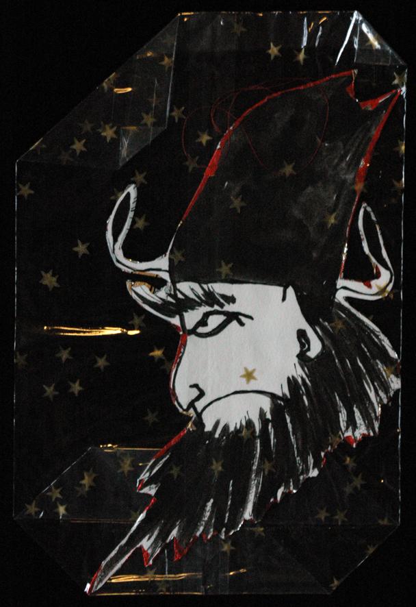 Ausgeschnittene und rückseitig mit Weihnachtspapier beklebte Tuschzeichnung von EVA: Nikolaus als Dämonenjäger