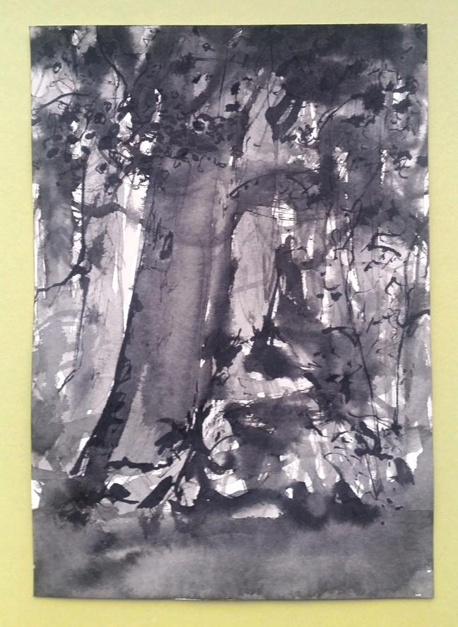 Zeichnung eines Waldstücks von der Hamburger Künstlerin EVA