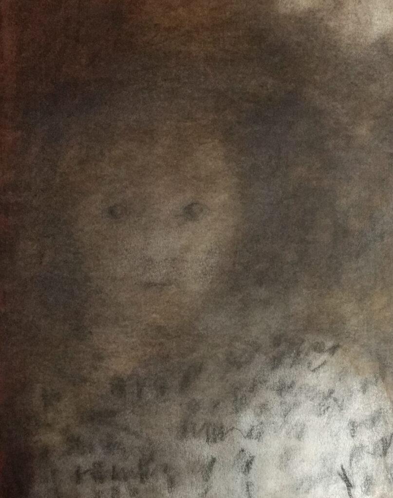 Zeichnung eines Mädchens im Pepitamantel, Porträt, EVA 2020