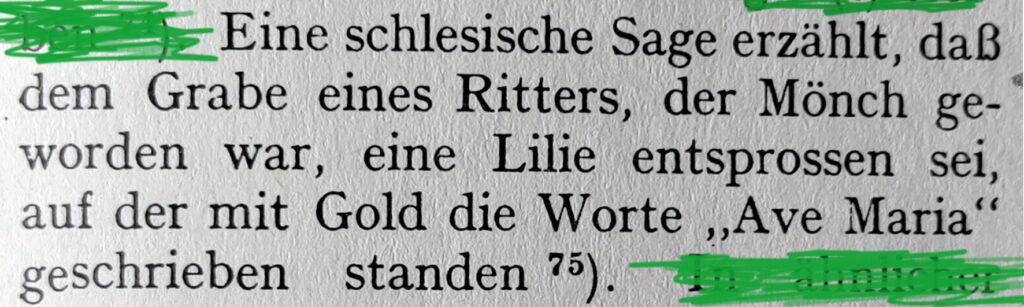 EVA: Gegrünter Textausschnitt aus dem Handwörterbuch des deutschen Aberglaubens
